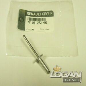 Заклепка решетки радиатора Renault оригинал (Франция), аналог 7703072419, для Рено Логан / Сандеро